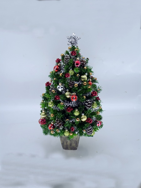 "Luxury Dollshouse Miniature 5.5"" Christmas Tree Red/Gold/Silver"